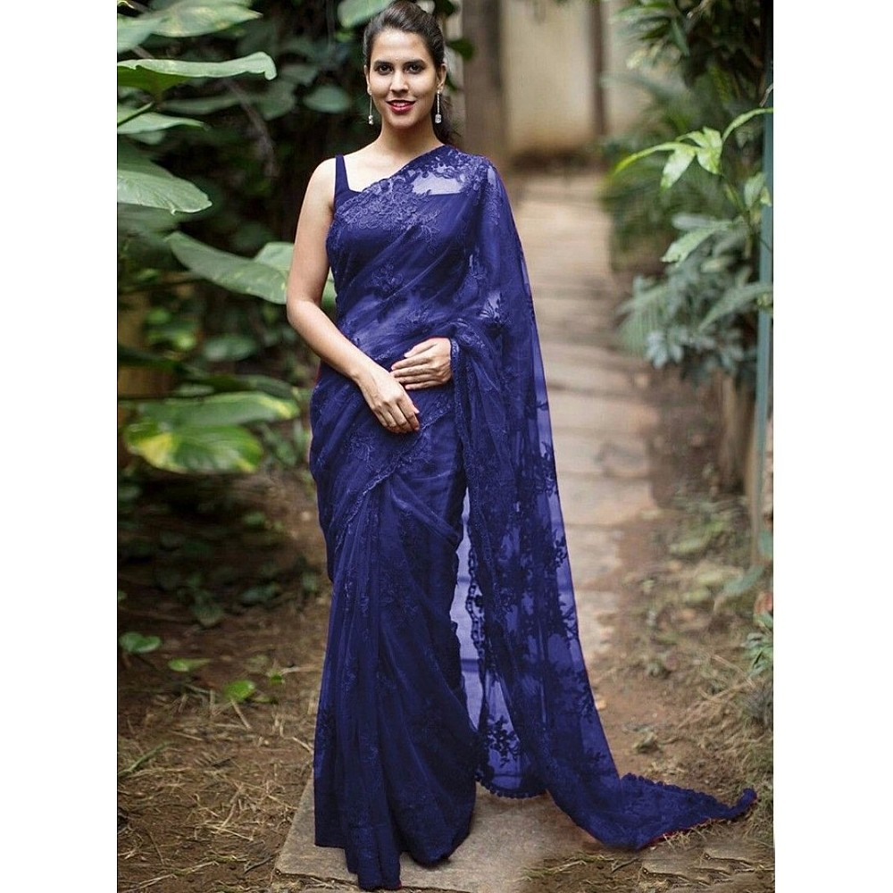 Beautiful mono net embroidered partywear saree