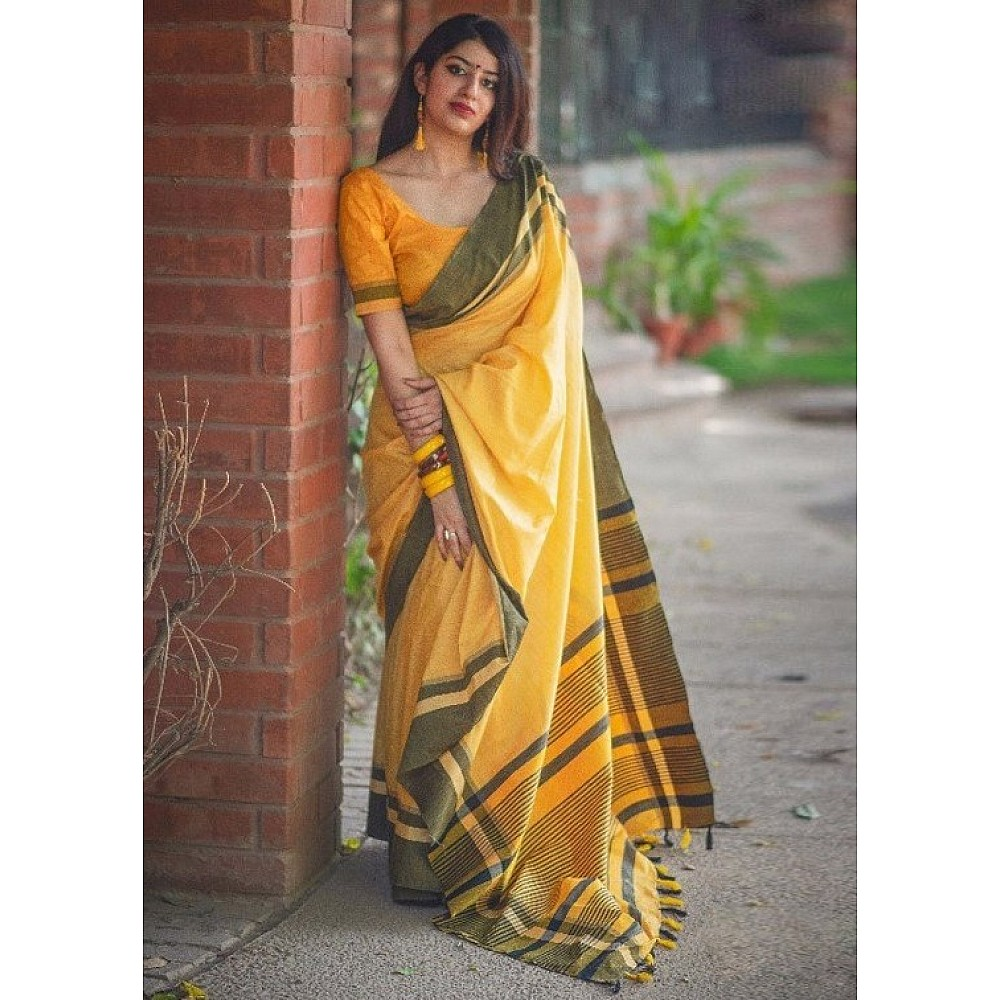 Beautiful yellow slub cotton silk casual saree