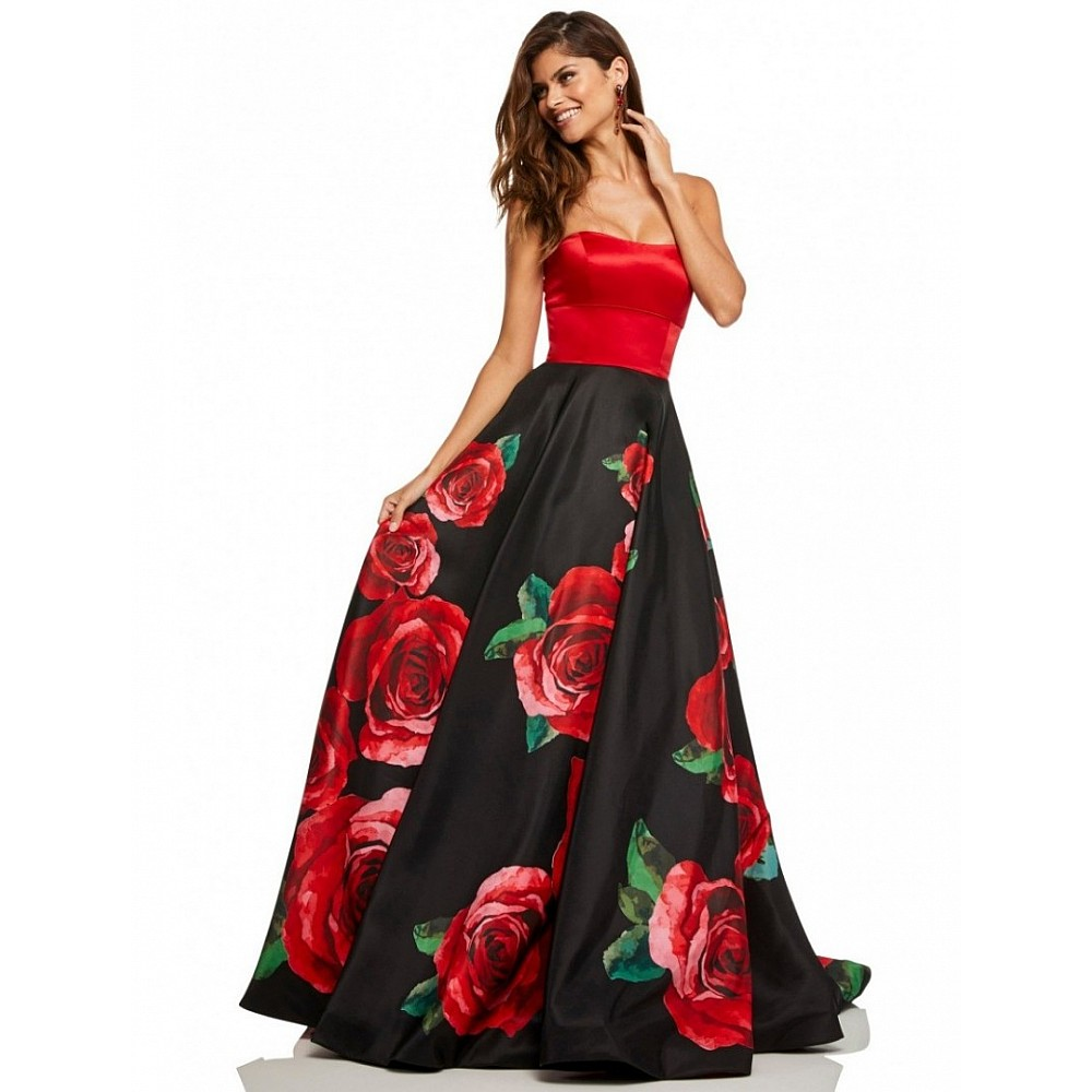Black flower printed partywear gown