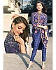 blue banarasi silk printed pant suit