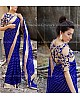 blue chex silk saree with embroidered blouse