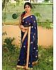 Blue Georgette embroidered partywear saree