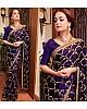 Dark blue sana silk embroidered stylist partywear saree