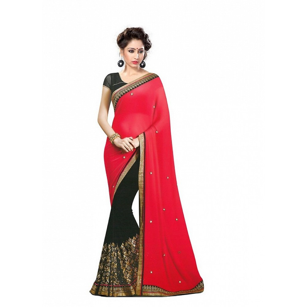 Designer stylist red and black embroidered saree