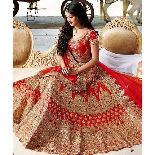 heavy embroidered red bridal wedding lehenga