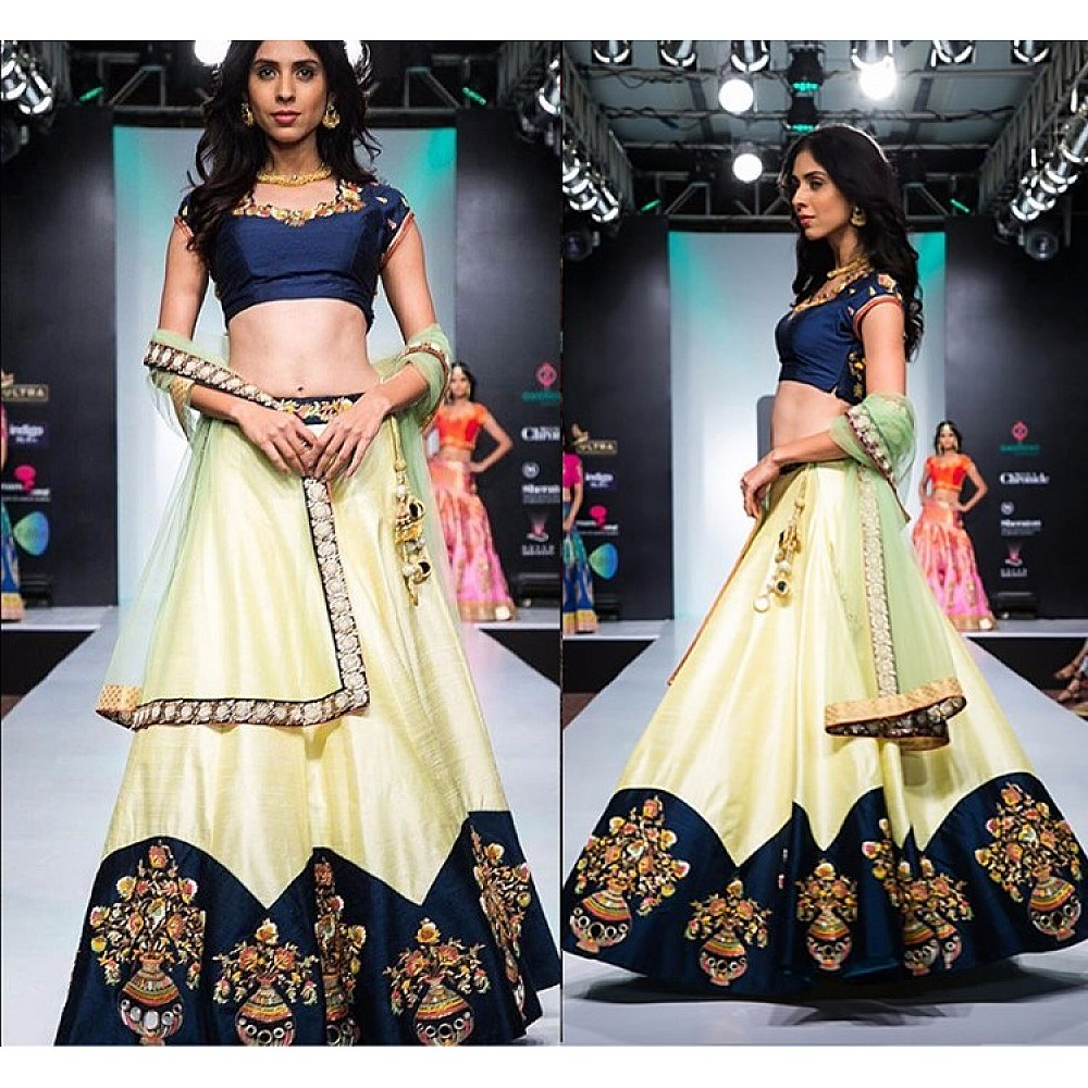 light yellow joya silk beautifully embroidered lehenga choli