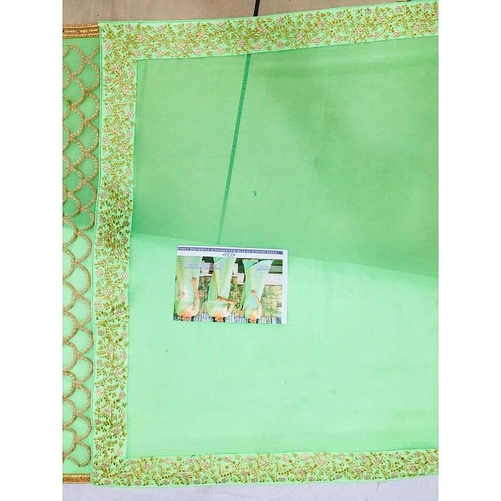 Pista green marbal silk heavy embroidered wedding saree
