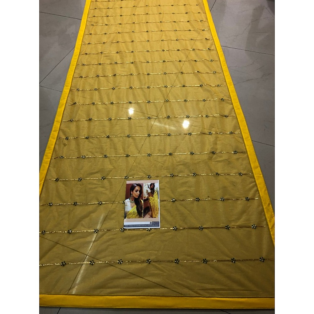 yellow pure orgenza silk bollywood partywear saree