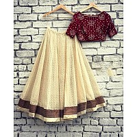 cream brasso net partywear lehenga with printed blouse