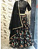 Black silk embroidered partywear lehenga