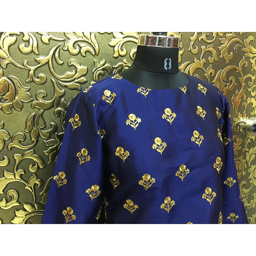 Blue tapeta silk designer bollywood style gown