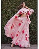 Baby pink floral printed georgette girlish ceremonial lehenga choli