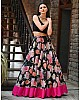 Black georgette digital rose flower printed lehenga choli