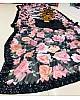 Black georgette flower printed sequence border partywear saree