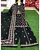 Black georgette thread embroidered plazzo salwar suit