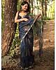 Black organza handworked and digital printed ceremonial saree