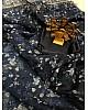 Black organza silk floral printed designer saree