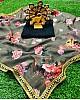 brownish grey georgette floral digital printed saree