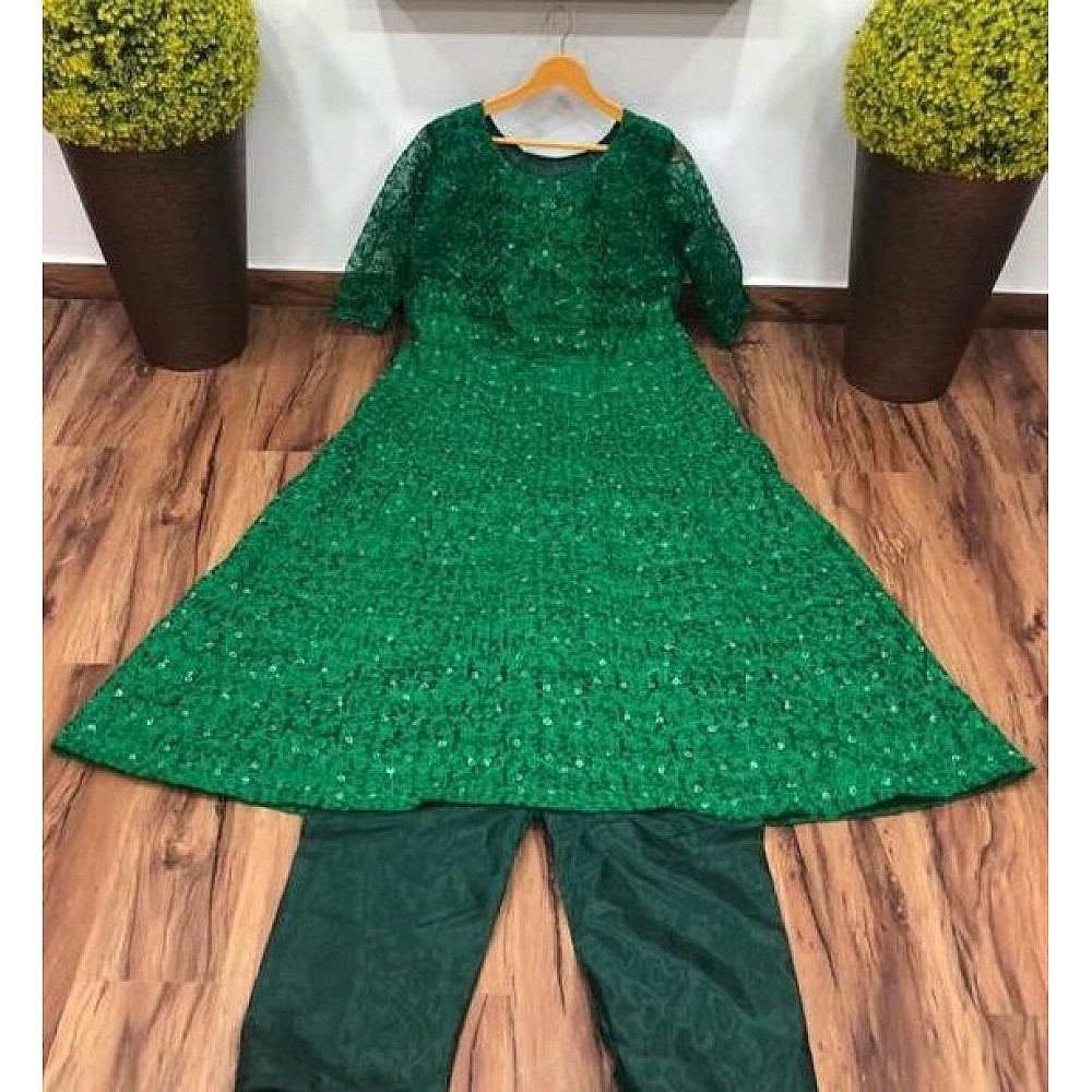 Green Heavy chain stitch embroidery work gown
