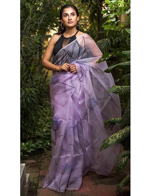 Light purple digital printed organza saree