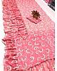 Magento pink georgette printed stylist designer ruffle saree