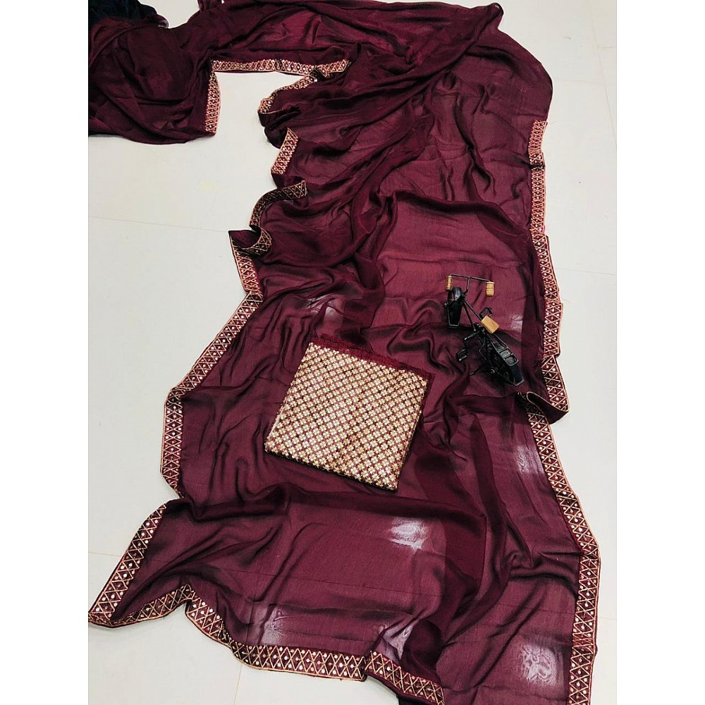 Maroon satin georgette sequence work lace border saree