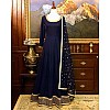 Navy blue tapeta silk embroidered partywear gown