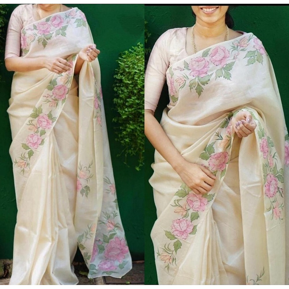 Off white floral printed organza saree
