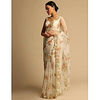 Off white organza handworked and digital printed ceremonial saree