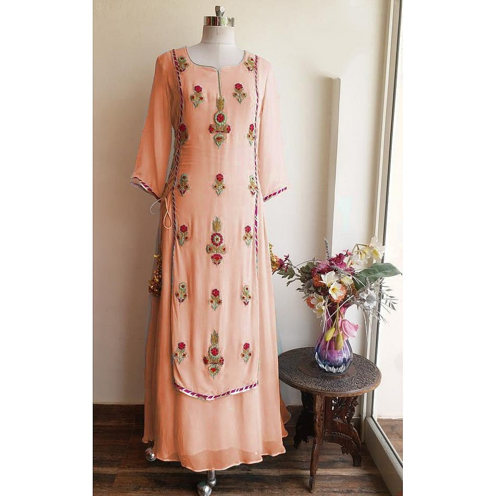 Peach georgette multi embroidered plazzo suit