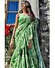 Pista green goergette digital printed ruffle saree