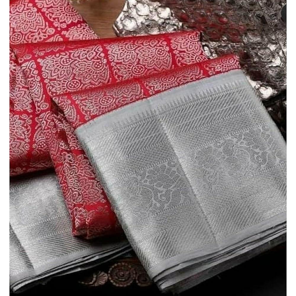 Red and grey banarasi silk jacquard designer saree