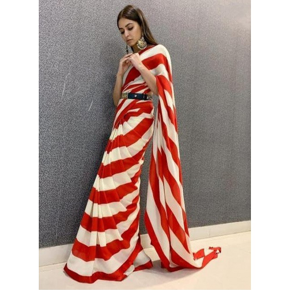 Red and white strip stylist partywear saree