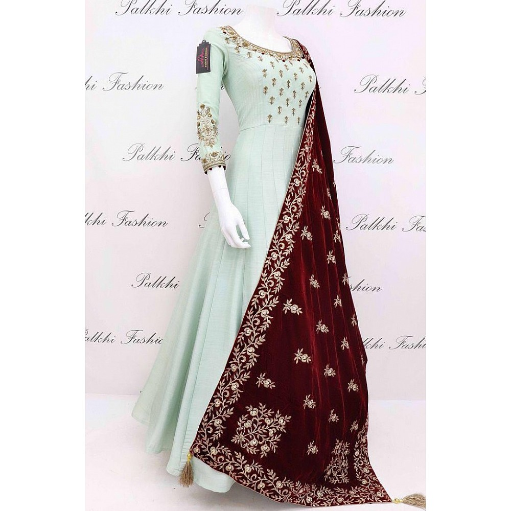 Sea green heavy japan satin long gown with velvet embroidered dupatta