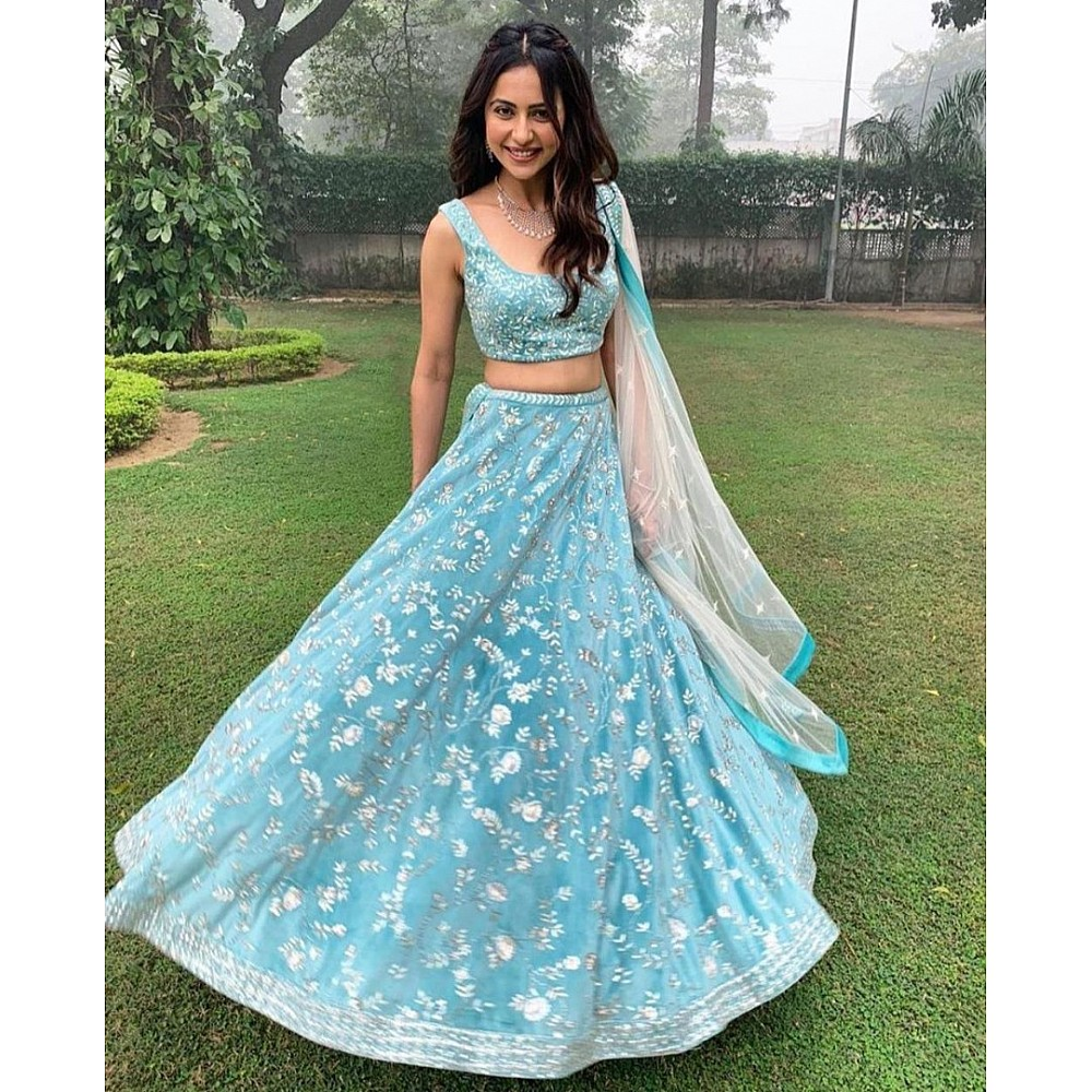 Sky blue banglory silk heavy embroidered wedding lehenga choli