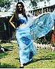 Sky blue digital printed organza saree