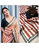 White and orange strip printed saree