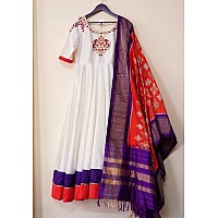 White club cotton anarkali gown with printed silk red dupatta