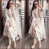White georgette multi thread embroidered plazzo kurti