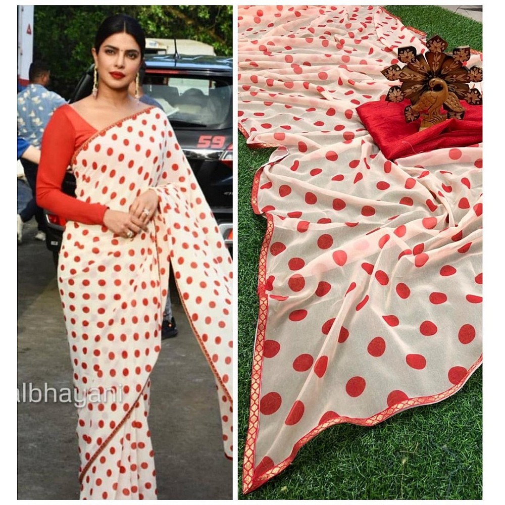 White georgette red dot printed casual wear saree