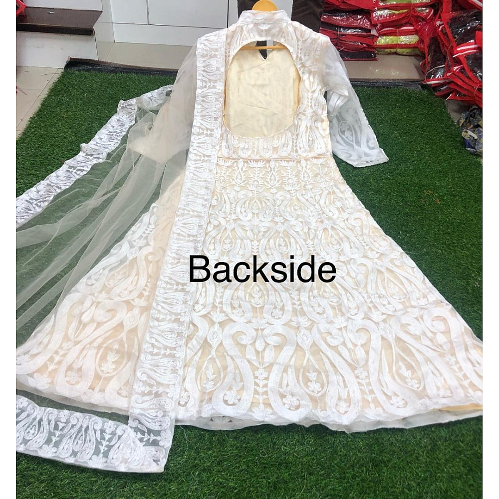 White net chain stitch embroidered gown