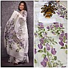 White purple floral printed organza saree