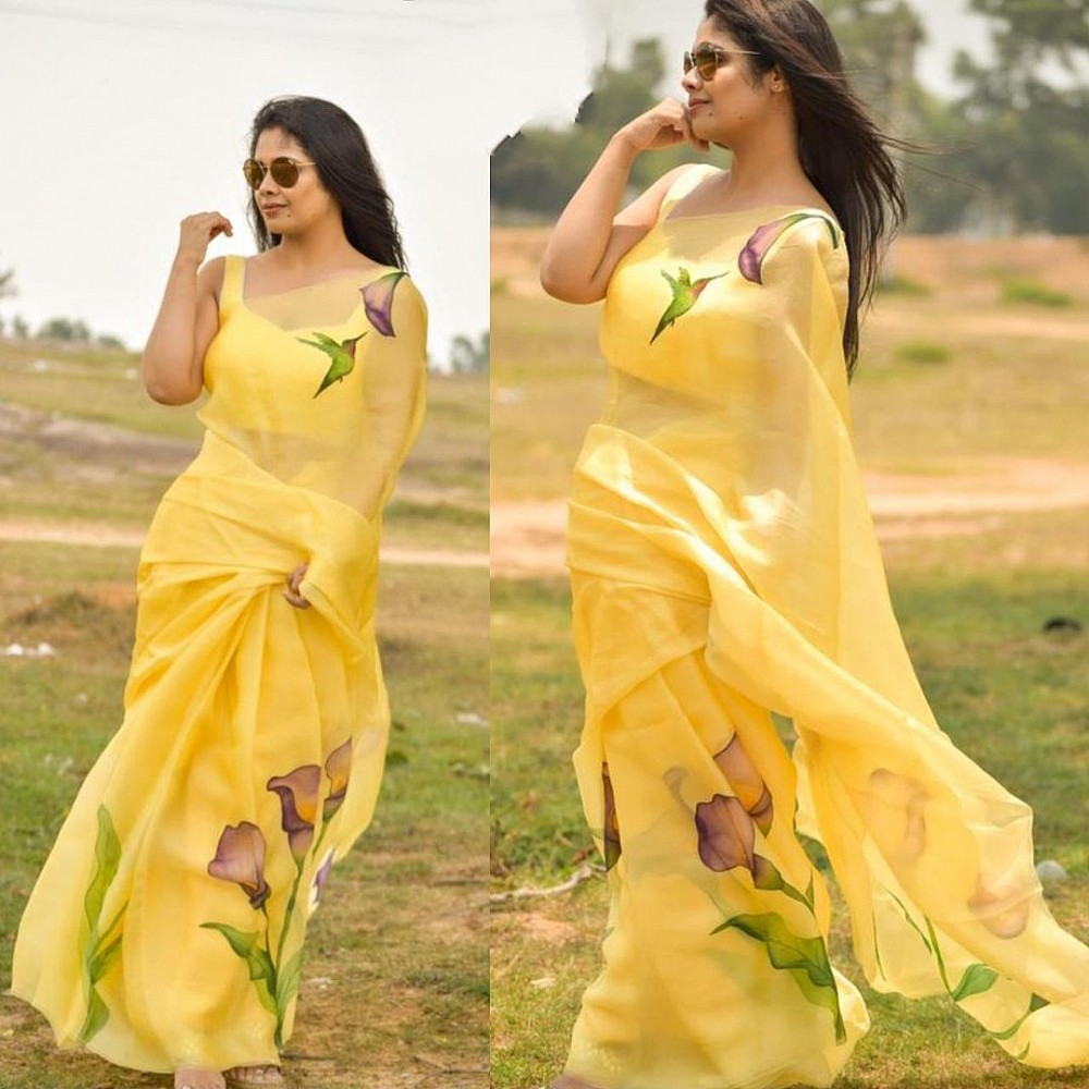 Yellow flower printed organza saree
