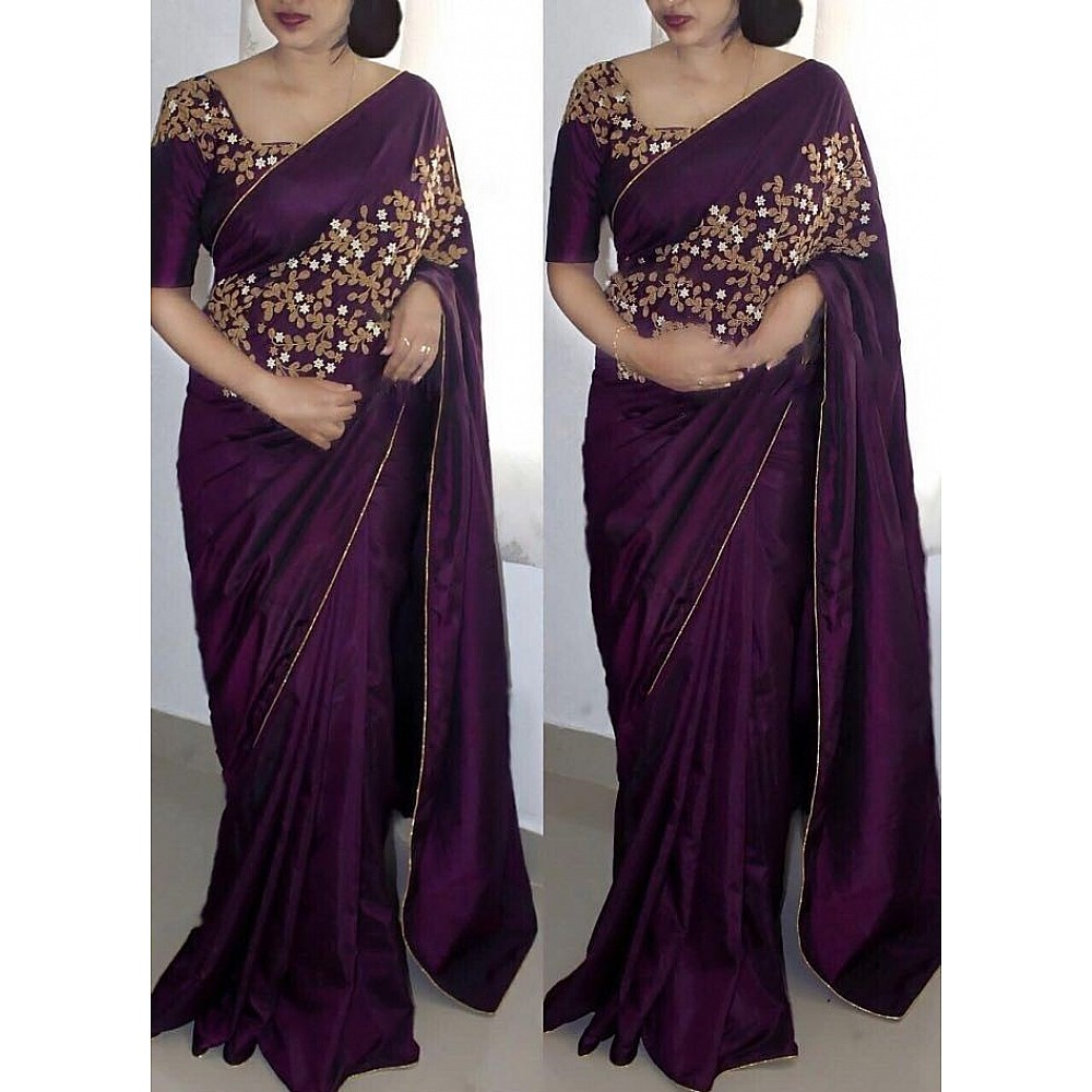Beautiful Embroidered purple paper silk partywear saree