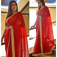 beautiful red georgette partywear saree with moti less