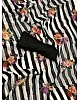 black and white strip georgette flower printed saree