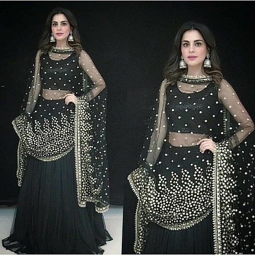 black banglori silk embroidered partywear lehenga
