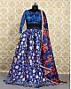 Blue banglori satin printed ceremonial lehenga choli