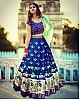 blue printed banglori silk festival lehenga choli