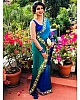 blue rangoli silk embroidered border partywear saree